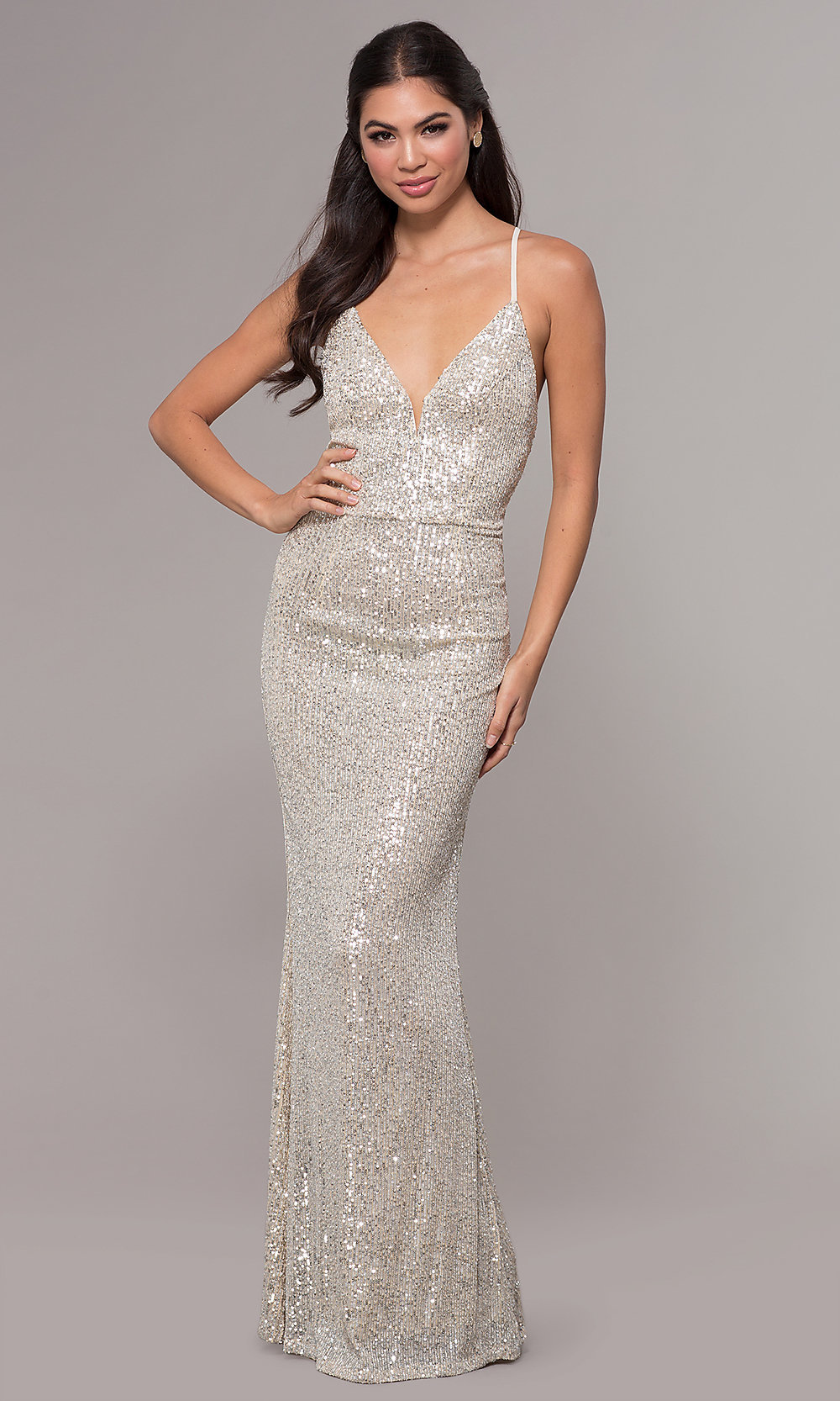 a477e2466e Long Sequin Prom Dress With Caged Style Open Back