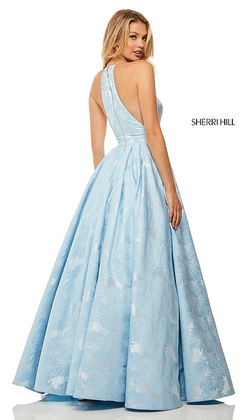 Image of high-neck prom dress with embossed pattern. Style: SH-52630 Back Image