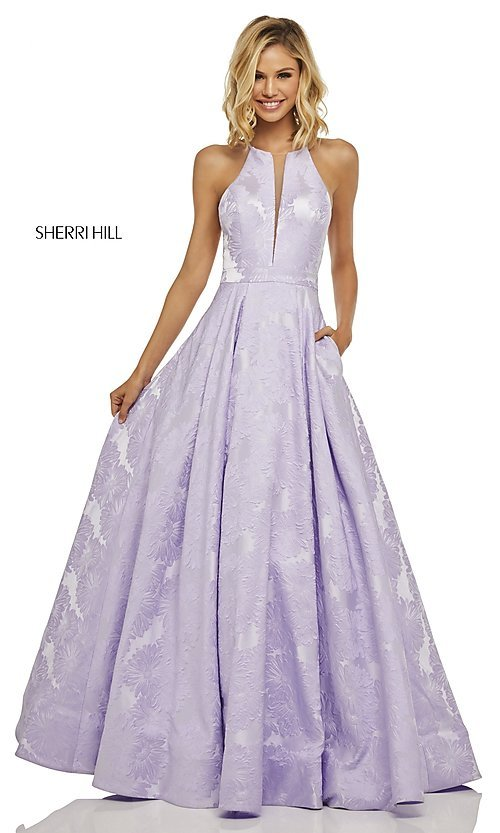 Image of high-neck prom dress with embossed pattern. Style: SH-52630 Front Image
