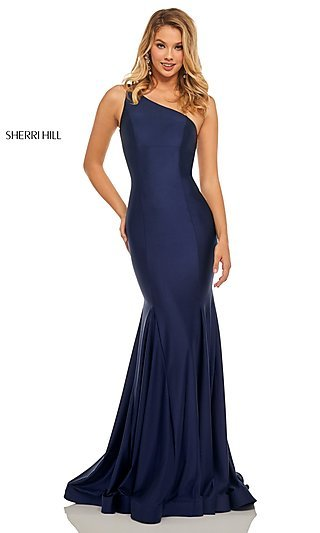 Long One-Shoulder Sleeveless Designer Prom