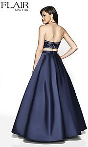 Image of long two-piece a-line halter prom dress by FLAIR. Style: BL-FL-19003 Back Image