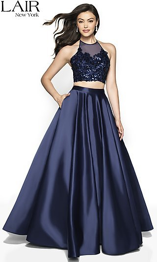 Long Two-Piece A-Line Halter Prom Dress