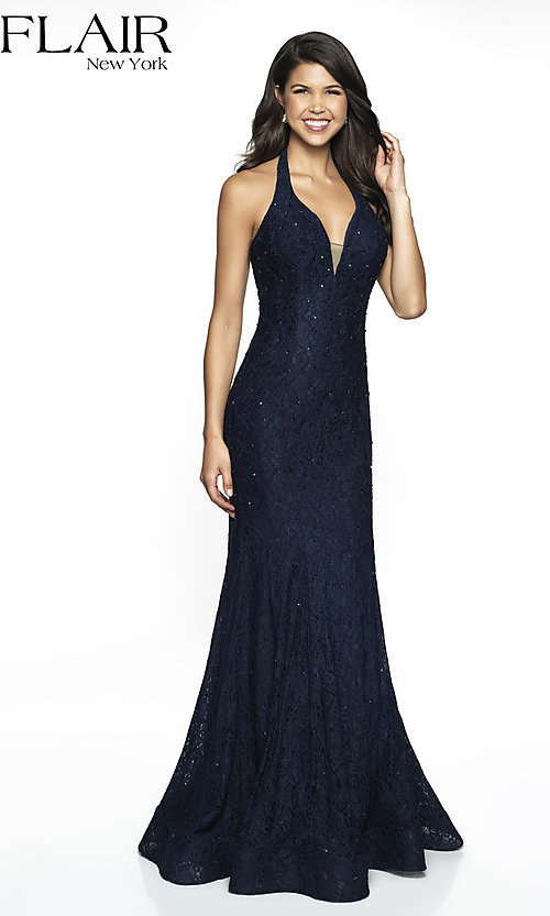 Image of lace v-neck FLAIR designer formal prom dress. Style: BL-FL-19014 Front Image