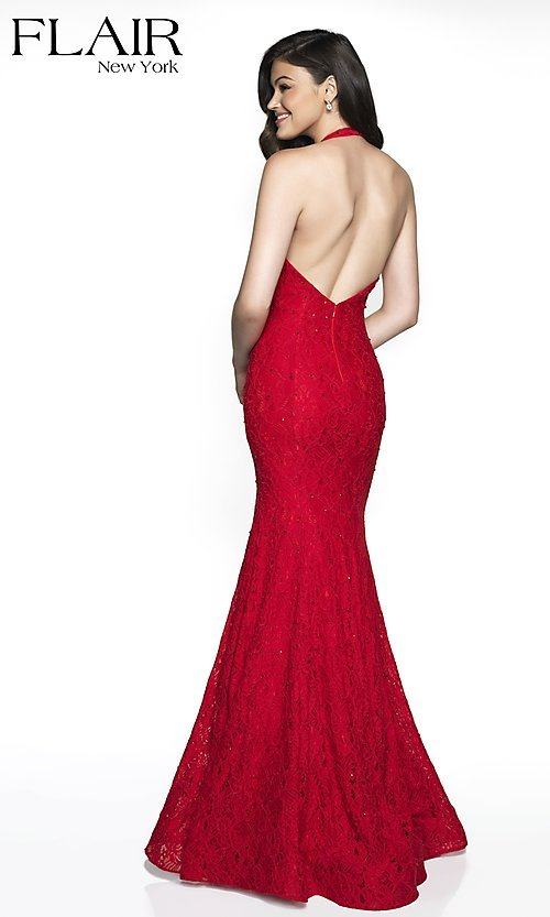 Image of lace v-neck FLAIR designer formal prom dress. Style: BL-FL-19014 Back Image