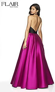 Image of long two-tone a-line FLAIR designer prom dress. Style: BL-FL-19019 Back Image