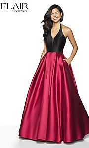 Image of long two-tone a-line FLAIR designer prom dress. Style: BL-FL-19019 Detail Image 5