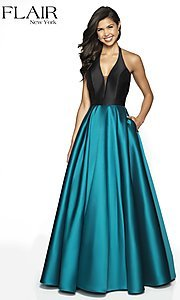 Image of long two-tone a-line FLAIR designer prom dress. Style: BL-FL-19019 Front Image