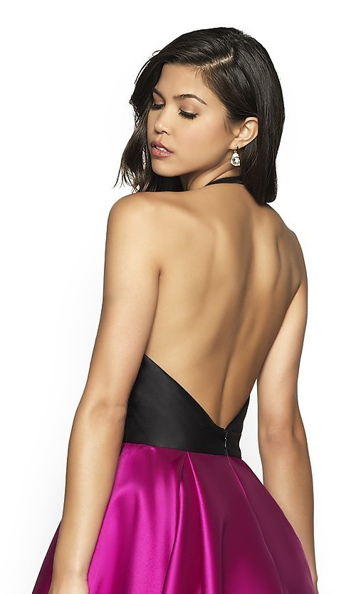 Image of long two-tone a-line FLAIR designer prom dress. Style: BL-FL-19019 Detail Image 2