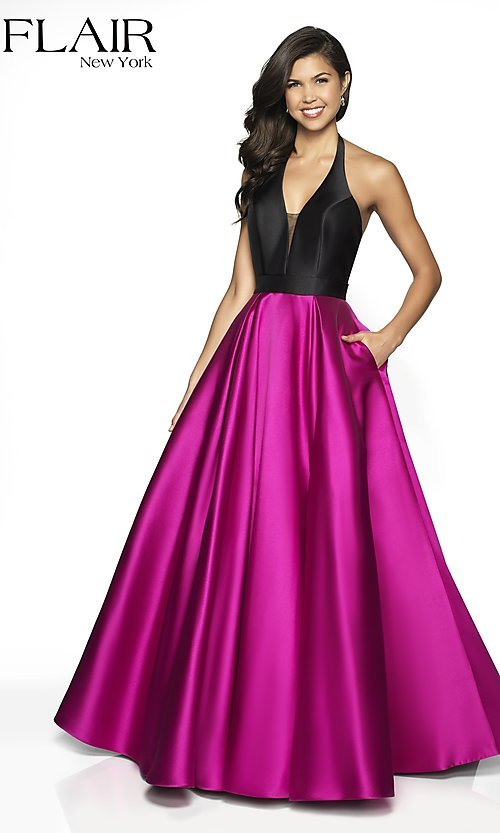 65d2ad292b2 Image of long two-tone a-line FLAIR designer prom dress. Style