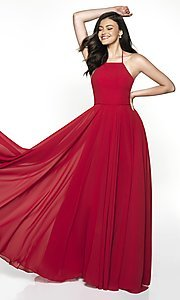 Image of long straight-neck sleeveless prom dress by FLAIR. Style: BL-FL-19062 Front Image