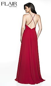 Image of long straight-neck sleeveless prom dress by FLAIR. Style: BL-FL-19062 Back Image