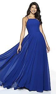 Image of long straight-neck sleeveless prom dress by FLAIR. Style: BL-FL-19062 Detail Image 3