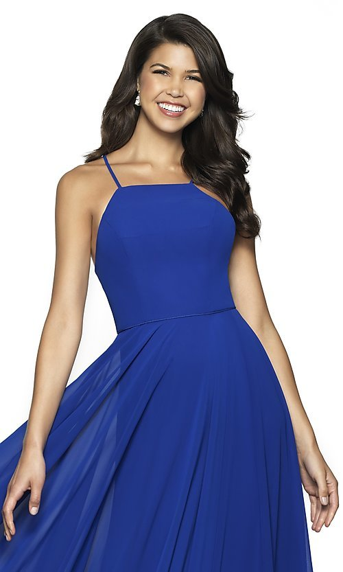 Image of long straight-neck sleeveless prom dress by FLAIR. Style: BL-FL-19062 Detail Image 4