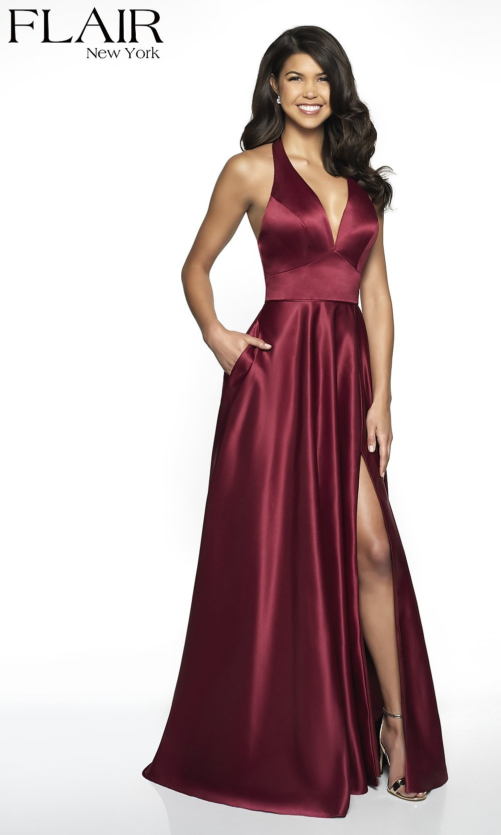 19d1347981c5 Long Deep V-Neck Halter Prom Dress with Pockets