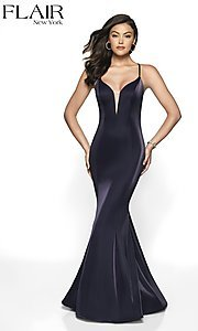 Image of long sleeveless open-back prom dress with train. Style: BL-FL-19124 Back Image