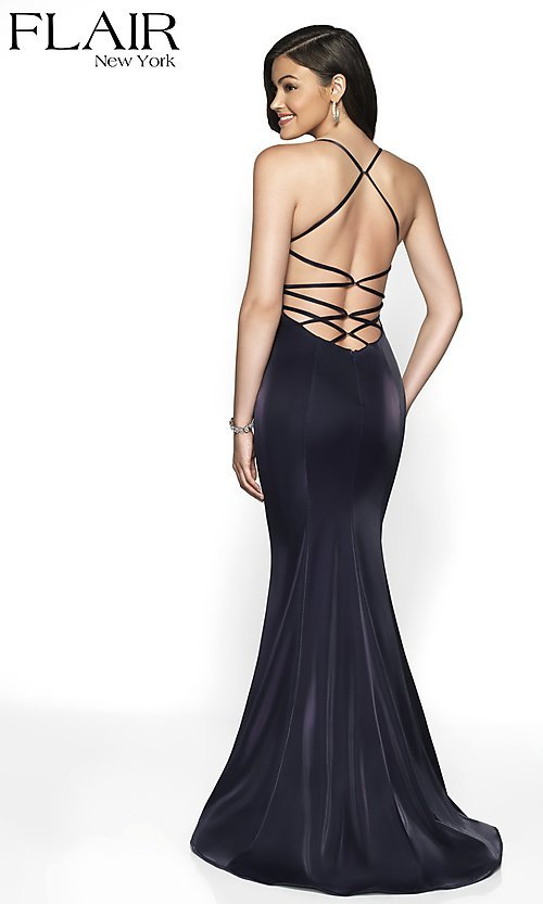 Image of long sleeveless open-back prom dress with train. Style: BL-FL-19124 Front Image