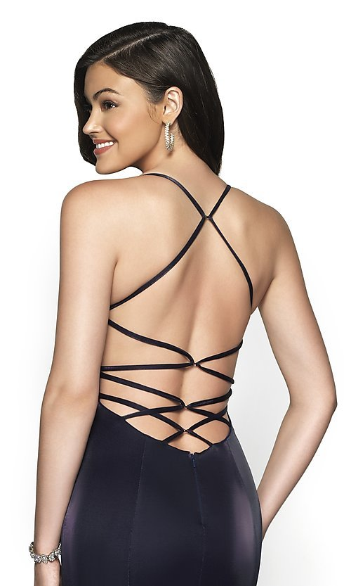 Image of long sleeveless open-back prom dress with train. Style: BL-FL-19124 Detail Image 2