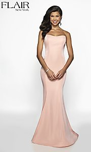 Image of long designer FLAIR prom dress with train. Style: BL-FL-19126 Detail Image 3