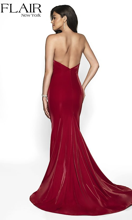 Image of long designer FLAIR prom dress with train. Style: BL-FL-19126 Back Image