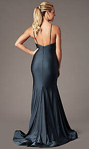 Image of long v-neck formal prom dress with trumpet skirt. Style: BL-FL-19142 Front Image