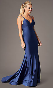 Image of long v-neck formal prom dress with trumpet skirt. Style: BL-FL-19142 Detail Image 3