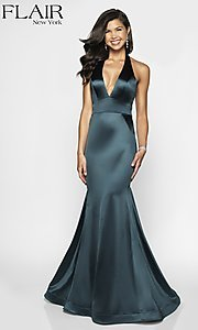 Image of long FLAIR mermaid-style designer prom dress. Style: BL-FL-19143 Front Image