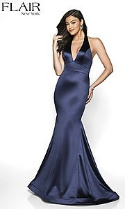 Image of long FLAIR mermaid-style designer prom dress. Style: BL-FL-19143 Detail Image 4