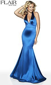 Image of long FLAIR mermaid-style designer prom dress. Style: BL-FL-19143 Detail Image 8