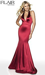 Image of long FLAIR mermaid-style designer prom dress. Style: BL-FL-19143 Detail Image 7