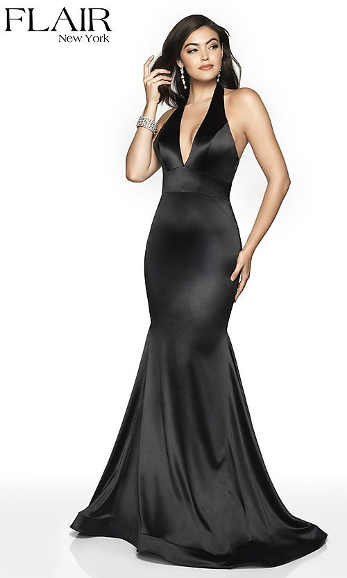 Image of long FLAIR mermaid-style designer prom dress. Style: BL-FL-19143 Detail Image 6