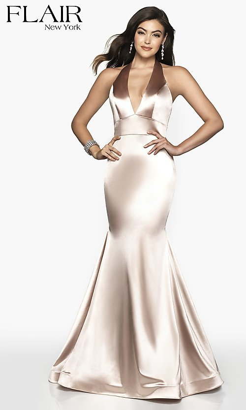 Image of long FLAIR mermaid-style designer prom dress. Style: BL-FL-19143 Detail Image 1