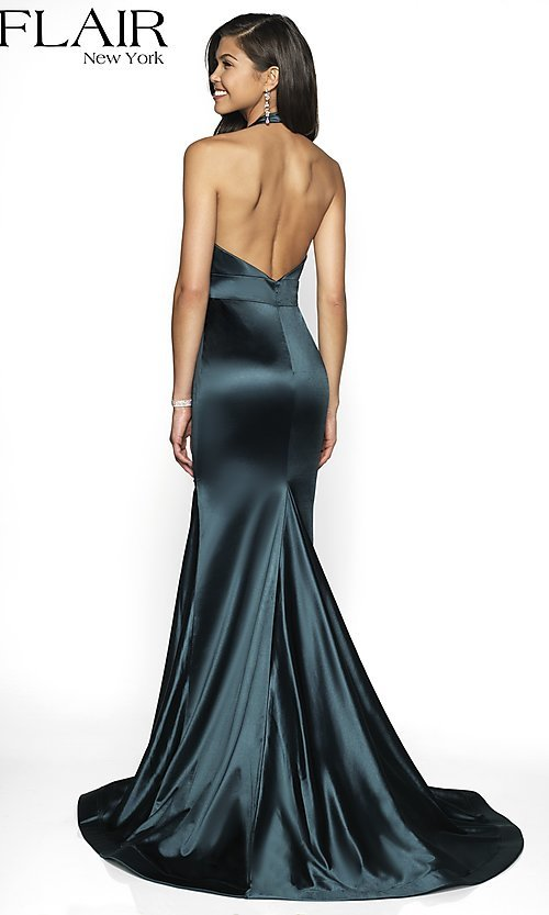 Image of long FLAIR mermaid-style designer prom dress. Style: BL-FL-19143 Back Image