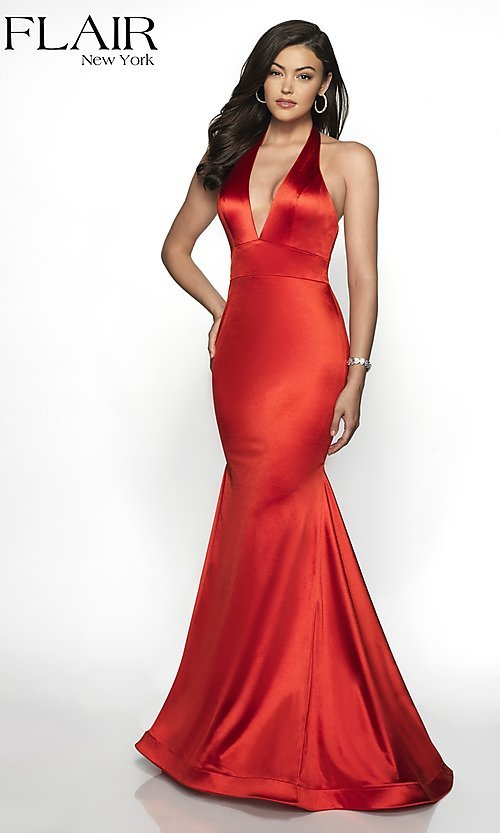 Image of long FLAIR mermaid-style designer prom dress. Style: BL-FL-19143 Detail Image 5