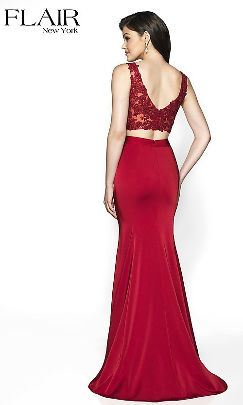 Image of long FLAIR two-piece designer prom dress. Style: BL-FL-19001 Back Image