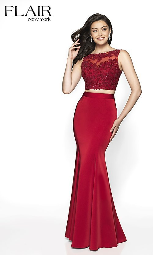 Image of long FLAIR two-piece designer prom dress. Style: BL-FL-19001 Front Image