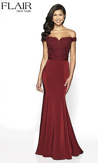 fb403099132 Off-the-Shoulder Fitted FLAIR Prom Dress