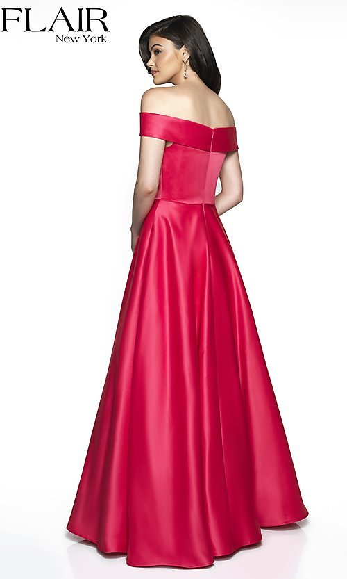 Image of off-the-shoulder prom dress with pockets. Style: BL-FL-19015 Back Image