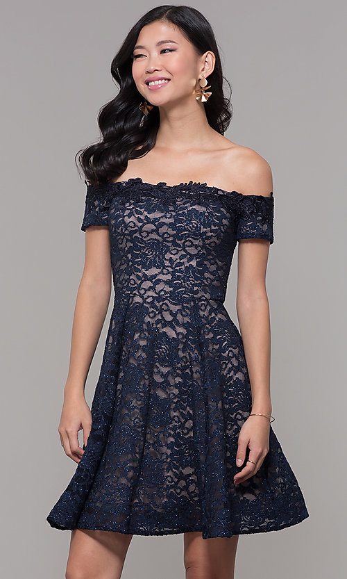 Image of navy off-shoulder short lace wedding-guest dress. Style: MY-5359ZJ1C Front Image