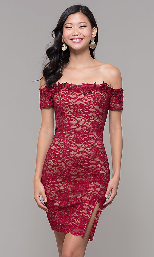 81cdcfd4058a Image of short wine red lace off-the-shoulder holiday dress. Style