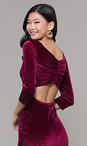 Image of short wine red velvet holiday dress with glitter. Style: MY-5311NS1C Detail Image 2