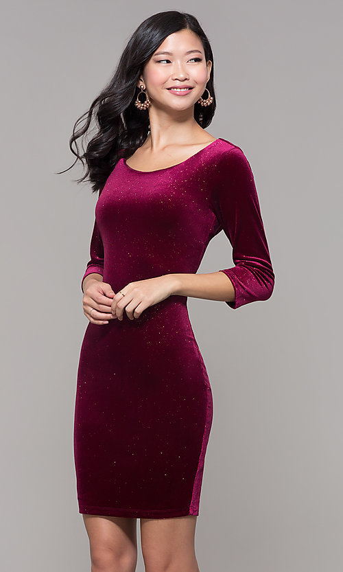 Image of short wine red velvet holiday dress with glitter. Style: MY-5311NS1C Front Image