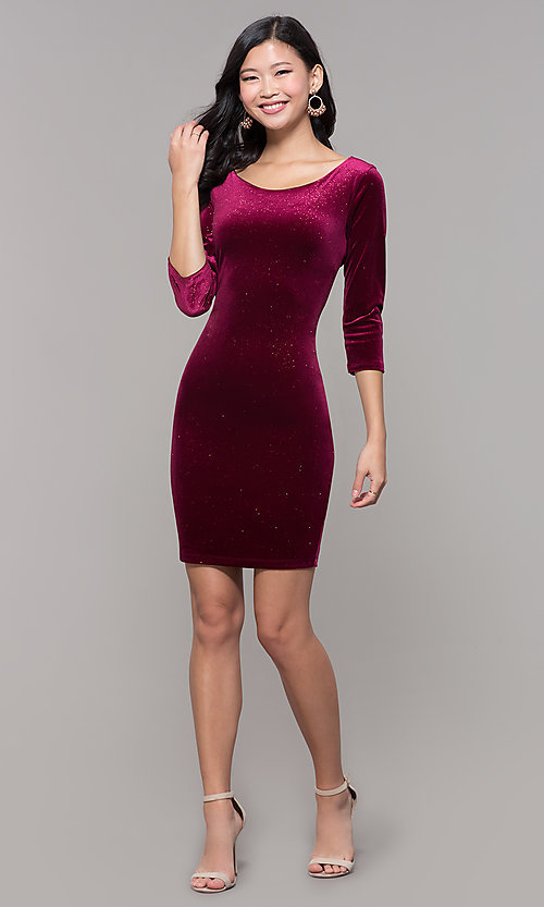 Image of short wine red velvet holiday dress with glitter. Style: MY-5311NS1C Detail Image 3