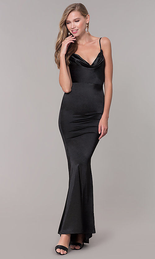 Image of cowl-neck long satin black prom dress. Style: LUX-LD5134 Front Image