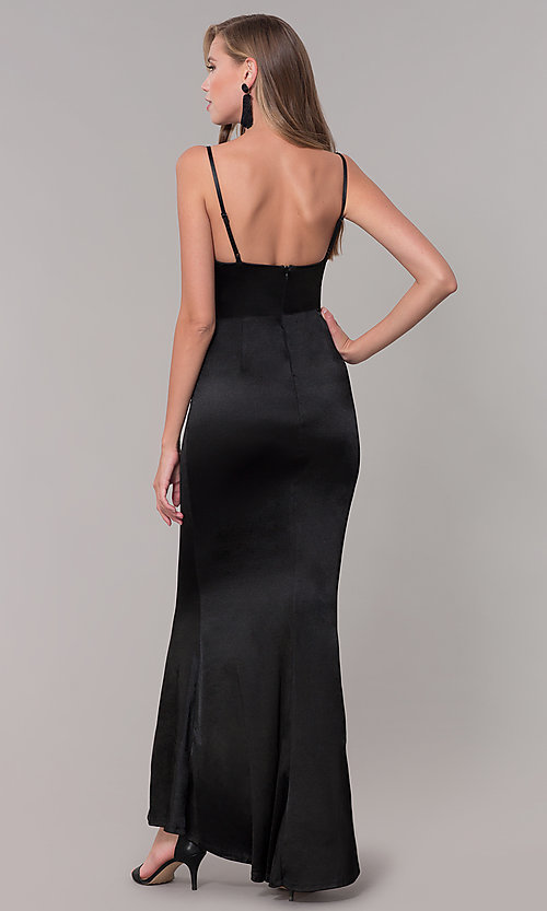 Image of cowl-neck long satin black prom dress. Style: LUX-LD5134 Back Image