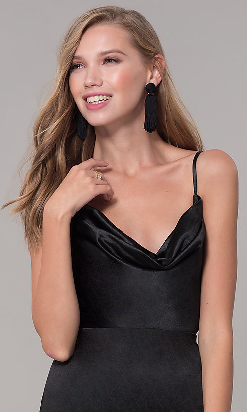Image of cowl-neck long satin black prom dress. Style: LUX-LD5134 Detail Image 1