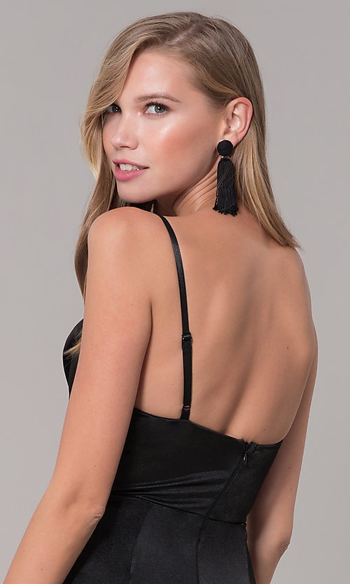Image of cowl-neck long satin black prom dress. Style: LUX-LD5134 Detail Image 2