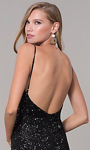 Image of long formal sequin-mesh v-neck prom dress. Style: LUX-LD5029 Detail Image 5