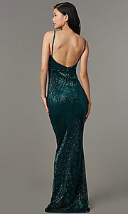 Image of long formal sequin-mesh v-neck prom dress. Style: LUX-LD5029 Back Image
