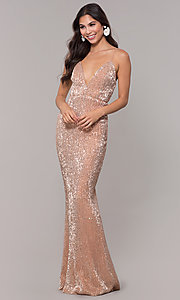 Image of long formal sequin-mesh v-neck prom dress. Style: LUX-LD5029 Detail Image 6