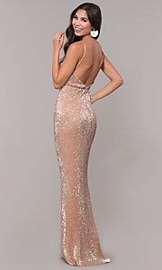 Image of long formal sequin-mesh v-neck prom dress. Style: LUX-LD5029 Detail Image 7